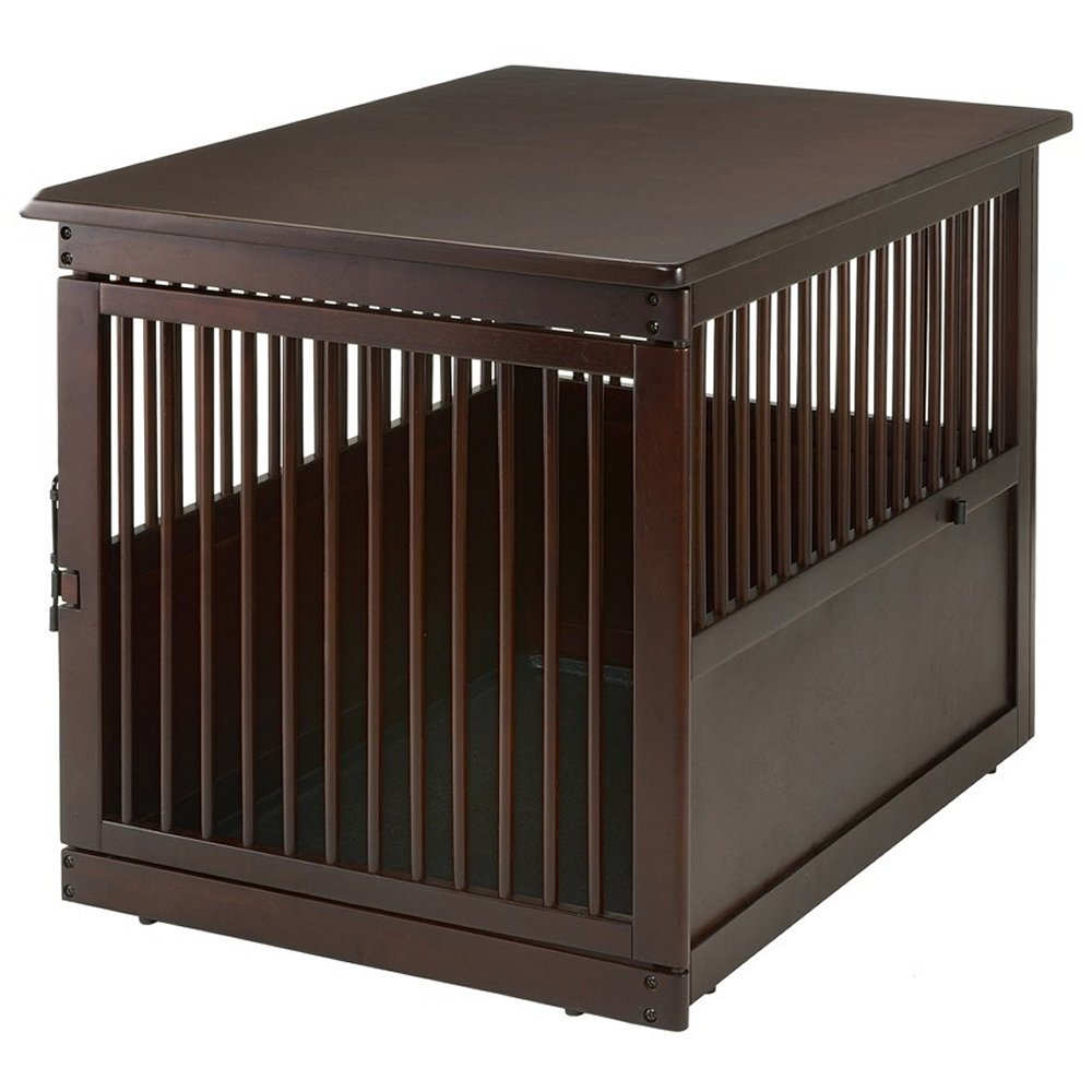 Richell large end table dog crate for Wooden crate end table