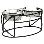 Oval Cross Double Raised Feeder