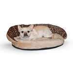 Plush Bolster Sleeper Pet Bed - Leopard Print