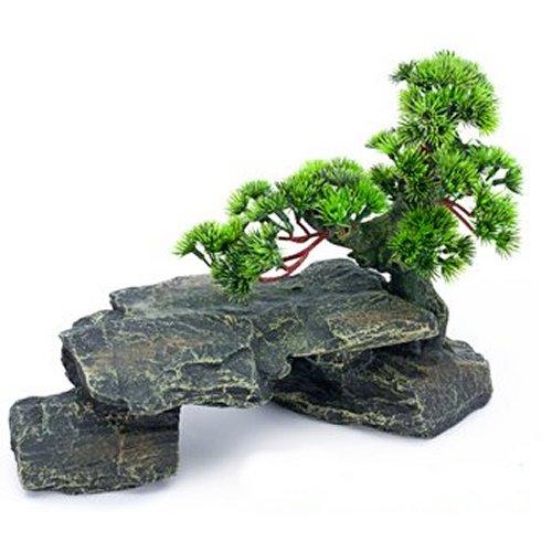Large Bonsai Tree On Rocks Aquarium Decoration