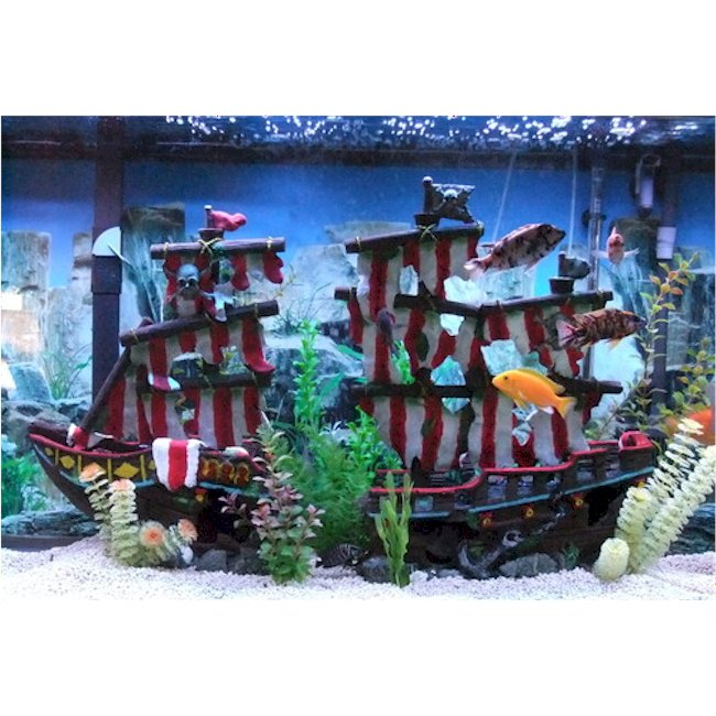 Large striped sail shipwreck aquarium decoration for Tall fish tank decorations