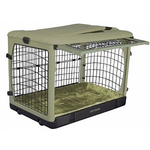 Pet Gear Deluxe Steel Dog Crate With Bolster Pad in Sage