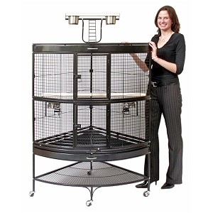 Large Corner Parrot Bird Cage in Black