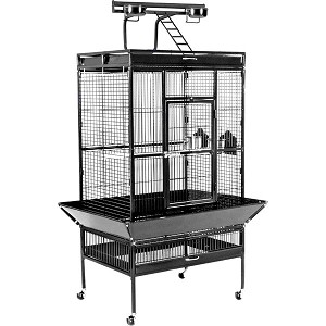 Large Select Wrought Iron Play Top Bird Cage in Black
