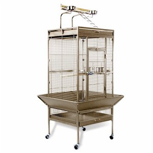 Medium Wrought Iron Playtop Bird Cage in Coco
